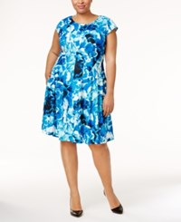 Calvin Klein Plus Size Floral Print Fit And Flare Dress Blue Multi
