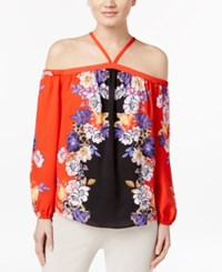 Inc International Concepts Printed Cold Shoulder Top Only At Macy's Bouquet