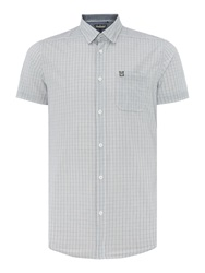 Duck And Cover Check Classic Fit Short Sleeve Button Down Shirt White