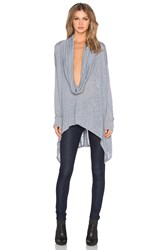 Michael Stars Long Sleeve Cowl Neck Poncho With Asymmetrical Hem Blue