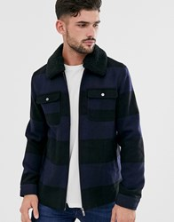 Only And Sons Brushed Check Wool Jacket With Removable Borg Collar Navy