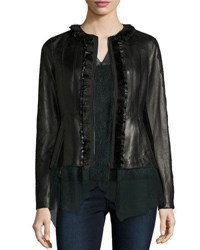 Elie Tahari Cam Crochet Trim Leather Peplum Jacket Black