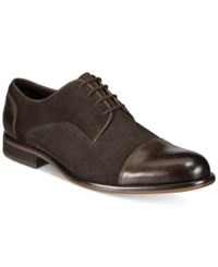 Alfani Men's Avery Suede Cap Toe Oxfords Created For Macy's Men's Shoes Brown