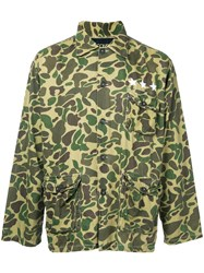 Icons Camouflage Print Shirt Men Cotton L Green