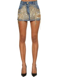 Balmain Embellished Cotton Denim Mini Skirt Blue