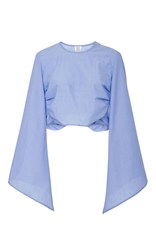 Rosie Assoulin Bell Sleeved Crop Top Light Blue