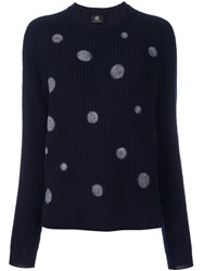 Paul Smith Ps By Polka Dot Ribbed Jumper Blue