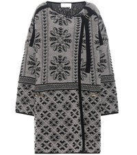 Chloe Printed Wool And Cashmere Cardigan Grey
