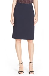 Women's Theory Stretch Wool Pencil Skirt Deep Navy
