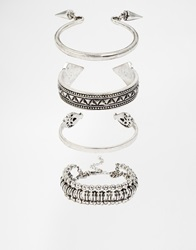 New Look Moroccan Cuff Bracelet Multipack Silver