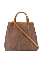 Etro Paisley Tribe Shopping Tote Brown