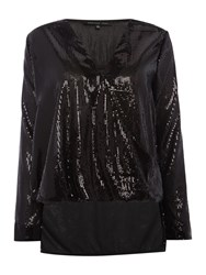 Endless Rose Long Sleeved V Neck Sequin Blouse Black