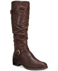 White Mountain Chip Wide Calf Riding Boots Women's Shoes Dark Brown
