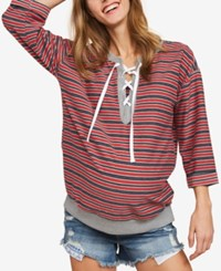 Motherhood Maternity Lace Up Sweatshirt Navy Red Stripe