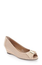 J. Renee Women's Dovehouse' Perforated Peep Toe Wedge Nude Leather