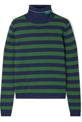 Prada Metallic Wool Blend Turtleneck Sweater Green