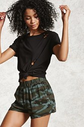 Forever 21 Camo Cuffed High Rise Shorts Olive Multi