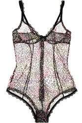 Agent Provocateur Rubi Animal Print Stretch Tulle Bodysuit