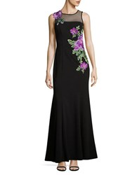Decode 1.8 Embroidered Floral Trumpet Gown Black Purple