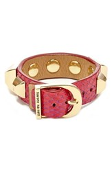 Women's Hayden Harnett 'Ramone' Studded Cuff Hot Pink Watersnake