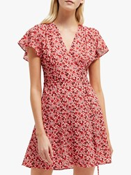 French Connection Eden Wrap Dress Fire Coral