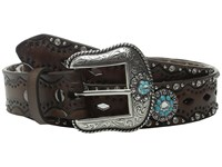 Ariat Diamond Cutout Turquoise Concho Belt Brown Women's Belts