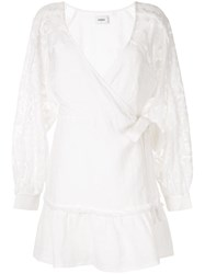 Suboo Lace Sleeve Wrap Dress White