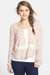 Lush Long Sleeve Lace Inset Top Juniors White