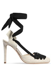 Altuzarra Lace Up Canvas Pumps Off White