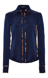 Zac Posen Silk Charmeuse Button Up Blouse Navy