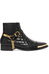 Balmain Embellished Quilted Leather Ankle Boots Black