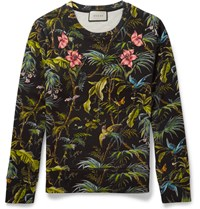 Gucci Tropical Print Loopback Cotton Jersey Sweatshirt Black
