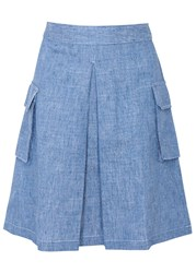 Clu Blue Inverted Pleat Twill Skirt