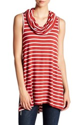 Love On A Hanger Stripe Cowl Neck Tank Red