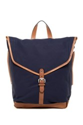 Cole Haan Waxed Canvas And Leather Messenger Backpack Blue