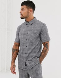Native Youth Co Ord Short Sleeve Shirt With Check In Black
