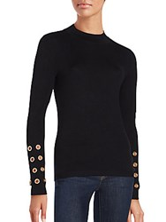 Romeo And Juliet Couture Crewneck Long Sleeve Knit Top Black