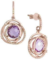 Effy Final Call By Pink Amethyst 3 1 2 Ct. T.W. And Diamond 1 4 Ct. T.W. Drop Earrings In 14K Rose Gold