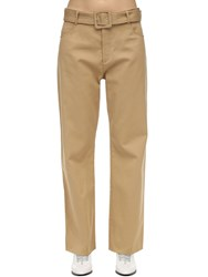 Courreges Belted Cotton Twill Wide Leg Pants Camel