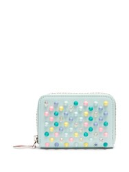 Christian Louboutin Panettone Spike Embellished Leather Coin Purse Blue Multi