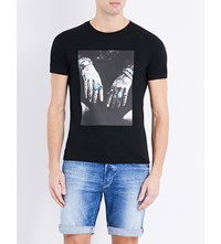 Replay Hands And Rings Cotton Jersey T Shirt Black