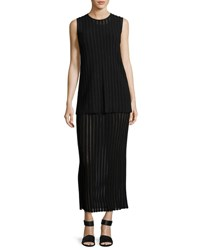 Diane Von Furstenberg Two Tiered Sleeveless Knit Maxi Dress Black