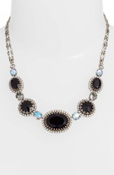 Sorrelli Oval And Round Station Collar Necklace Black