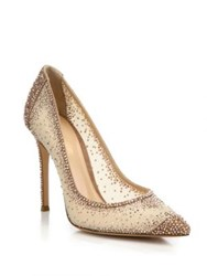 Gianvito Rossi Mesh And Crystal Point Toe Pumps Medium Pink Black