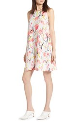 Halogen A Line Dress Ivory Coral Floral
