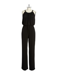 Calvin Klein Faux Leather Trimmed Jumpsuit Black
