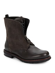 Emporio Armani Leather And Suede Boots Grey Brown