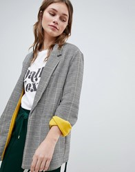 Bershka Contrast Blazer In Multi Check