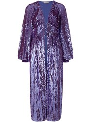 Attico Sequined Bell Sleeve Coat Pink And Purple