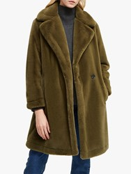 French Connection Buona Faux Fur Coat Loden Green